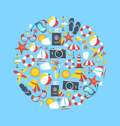 summer icon set graphic elements and vector image vector image