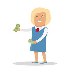 Woman character with money vector