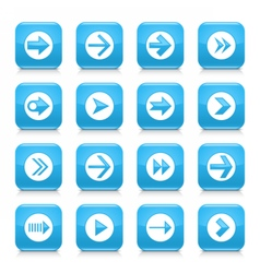 Blue arrow sign rounded square icon web button vector
