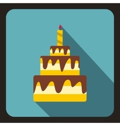 Birthday cake with candle icon flat style vector