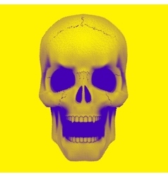 Skull in vintage duotone and halftone style vector