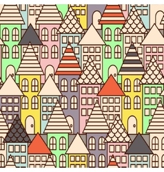Outline city multicolor seamless pattern vector