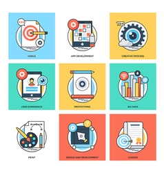 Flat color line design concepts icons 25 vector
