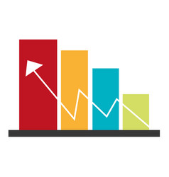Color bar graphic with economic indicator line vector