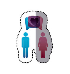 sticker colorful pictogram male and female with vector image