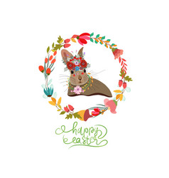 Happy easter with bunny wreaths greeting card vector