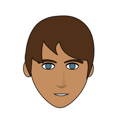 Color image front face man with hairstyle vector
