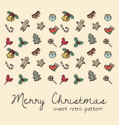 sweet retro seamless pattern for christmas theme vector image
