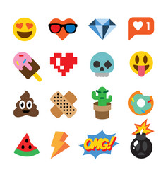 Set of cute emoticons stickers emoji design vector