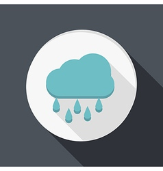 Paper flat icon cloud rain vector