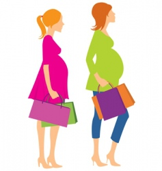 Walking pregnant girls vector
