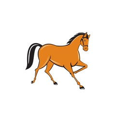 Horse cantering side cartoon vector
