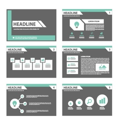 Black and green presentation templates infographic vector