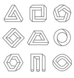Impossible geometric shapes in linear outline vector