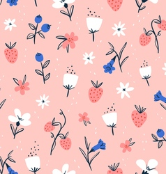 Abstract flowers and berries on pink vector image