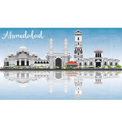 Ahmedabad skyline with gray buildings vector