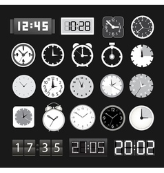 Black and white different clocks collection vector image