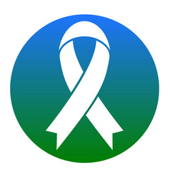 Black awareness ribbon sign white icon in vector