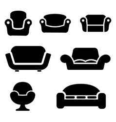 Black sofas and couches icons set vector