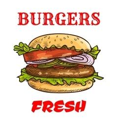 Burger fast food sketch icon vector