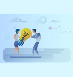 business man and woman holding light bulb sharing vector image vector image