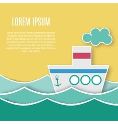 Card template with paper ship vector