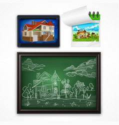 Child hand drawing landscape vector