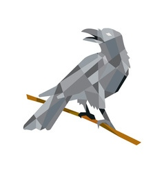 Crow perching looking back low polygon vector