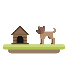 Dog standing in front of its kennel dog house pet vector