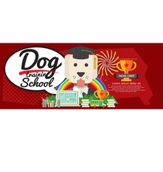 Dog Training School Super Wide Banner vector image