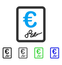 Euro signed contract flat icon vector