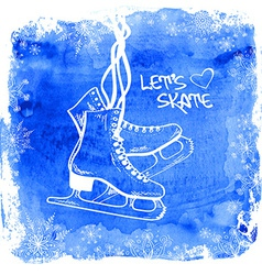 Figure skates on a watercolor background vector