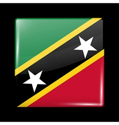 Flag of saint kitts and nevis glossy icon square s vector