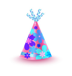 flowery decorated pink party hat icon vector image vector image