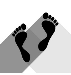 foot prints sign black icon with two flat vector image vector image