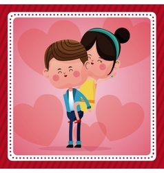 Funny couple lovely pink hearts background vector