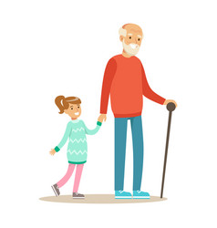 grandfather and girl walking holding hands part vector image vector image