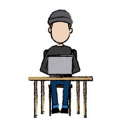 Hacker character sitting work laptop technology vector