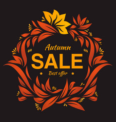 Hand drawing autumn floral label at dark backrop vector