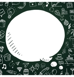 Hand drawn speech bubble on chalkboard vector image vector image