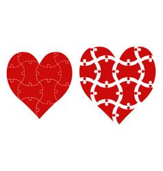Heart shape puzzle heart puzzle template vector