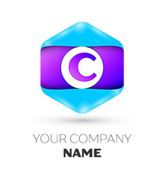 letter c logo symbol in colorful hexagonal vector image vector image