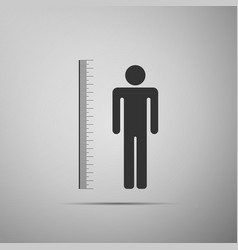 Measuring height body icon on grey background vector