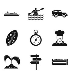 movement icons set simple style vector image vector image