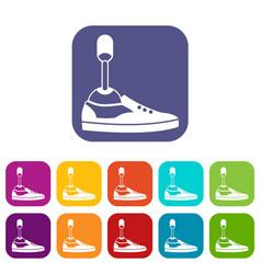 Prosthetic leg icons set vector