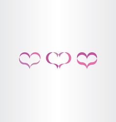 purple heart icons set love symbol vector image