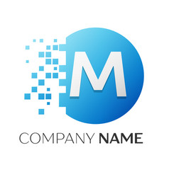 realistic letter m logo in colorful circle vector image vector image