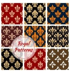 Royal fleur-de-lis floral heraldic flowery pattern vector image vector image
