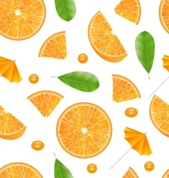 Seamless texture with slices of oranges vector