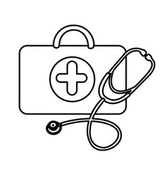 silhouette suitcase health with stethoscope icon vector image vector image